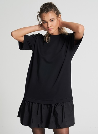 Pi π Büzgü Detaylı Elbise Siyah